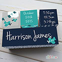 Nursery Birth Detail Wooden Name Blocks Boy Aeroplane Navy