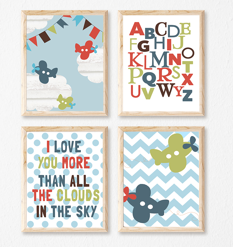 Prints Modern Nursery Room Decor Boys Aeroplane Alphabet
