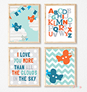 Prints Modern Nursery Room Decor Boys Aeroplane Alphabet Blue