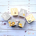 Personalised Wooden Letter Name Blocks Boy Nursery Animals Yello