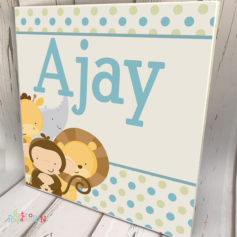 Personalised Wooden Name Plaque Boys Decor Animal Friends