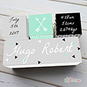 Nursery Birth Detail Wooden Name Blocks Boy Modern Arrow Grey