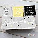 Nursery Birth Detail Wooden Name Blocks Boy Modern Arrow Yellow