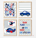 Prints Modern Nursery Room Decor Boys Transport Alphabet