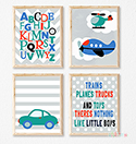 Prints Modern Nursery Room Decor Boys Transport Alphabet Orange