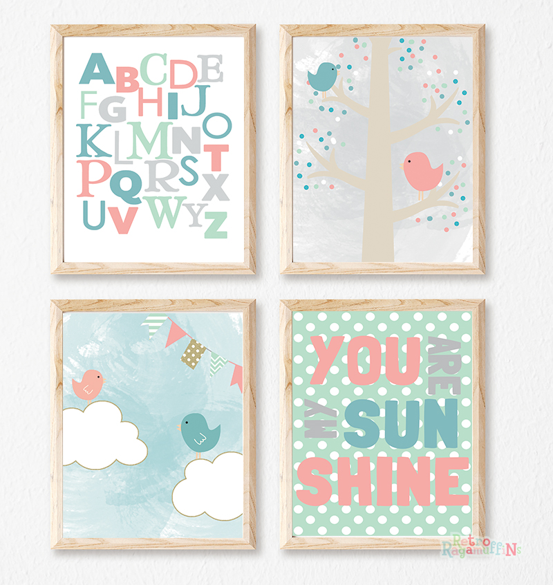 Prints Modern Nursery Room Decor Girls Bird Bunting Sunshine