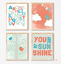 Prints Modern Nursery Room Decor Girls Bird Sunshine Pink