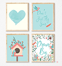 Prints Modern Nursery Room Decor Girls Birdhouse Dream Big