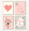 Prints Modern Nursery Room Decor Girls Birdhouse Dream Big Pink
