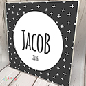 Personalised Wooden Name Plaque Boys Decor Black Cross Modern