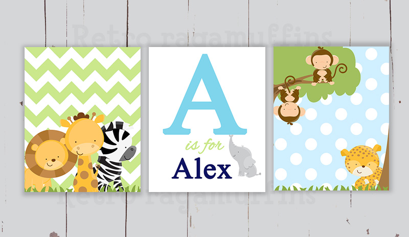 Blue Jungle Personalised Name Nursery Art Prints