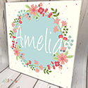 Personalised Wooden Name Plaque Girls Blue Wreath Floral