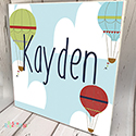 Personalised Wooden Name Plaque Boys Decor Hot Air Balloon