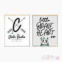 Nursery Prints Personalised Decor Boy Brave Heart Tribal