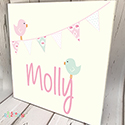Personalised Wooden Name Plaque Girls Decor Bunting Bird