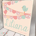 Personalised Wooden Name Plaque Girls Decor Bunting Bird Peach