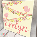 Personalised Wooden Name Plaque Girls Decor Bunting Yellow