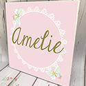 Personalised Wooden Name Plaque Girls Decor Butterfly Lace