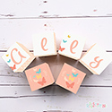 Personalised Wooden Letter Name Blocks Girs Butterfly Peach