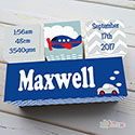 Nursery Birth Detail Wooden Name Blocks Boy Car Transport