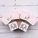 Personalised Wooden Letter Name Blocks Girls Floral Elephant