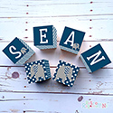Personalised Wooden Letter Name Block Boy Cheveron Elephant Navy