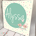 Personalised Wooden Name Plaque Girls Decor Bird Swing