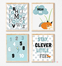 Prints Modern Nursery Room Decor Boy Clever Fox Woodland