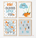 Prints Modern Nursery Room Decor Boy Clever Fox Woodland Gray