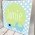 Personalised Wooden Name Plaque Boys Decor Dotty Elephant Blue