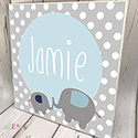 Personalised Wooden Name Plaque Boys Decor Dotty Elephant Grey