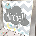 Personalised Wooden Name Plaque Boys Decor Dream Cloud Grey