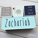 Nursery Birth Detail Wooden Name Blocks Boy Elephant Balloon