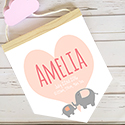 Nursery Decor Pendant Flag Name Sign Girl Elephant Heart