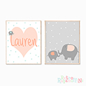 Nursery Prints Personalised Decor Girl Elephant Heart Pink