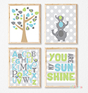 Prints Modern Nursery Room Decor Boy Elephant Sunshine Grey