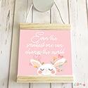 Hanging Pendant Print Scroll Sign Nursery Girls Smallest Bunny