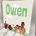 Personalised Wooden Name Plaque Boys Decor Farm Animal