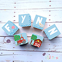 Personalised Wooden Letter Name Blocks Farm Blue Boys