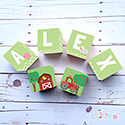 Personalised Wooden Letter Name Blocks Farm Green Boys