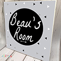 Personalised Wooden Name Plaque Boys Decor Geometric Black
