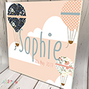 Personalised Wooden Name Plaque Girls Decor Air Balloon Peach