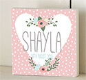 Heart Floral Personalised Wooden Name Plaque Door Sign