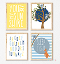 Prints Modern Nursery Room Decor Boys Koala Sunshine Navy