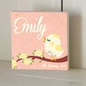 Lace Bird Wooden Name Plaque