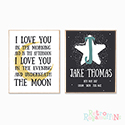 Nursery Prints Personalised Decor Boy Love to the Moon Black