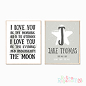 Nursery Prints Personalised Decor Boy Love to the Moon Grey