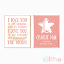 Nursery Prints Personalised Decor Girl Love to the Moon Pink
