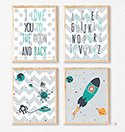 Prints Modern Nursery Room Decor Boys Love You to the Moon