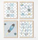 Prints Modern Nursery Room Decor Boys Love You to the Moon Blue